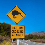 Work and Travel - Kiwi Warnschild in Neuseeland
